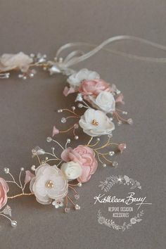 Bridal flower crown wreath colors to order Rose Gold Blush