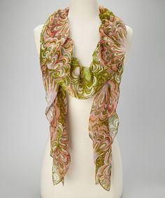 Take a look at this Jungle Green Firework Pinwheels Boa Scarf by Collection 18 on #zulily today!