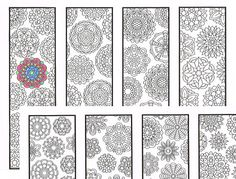 Coloring Bookmarks - Two flower mandala pattern coloring pages for adults and big kids - Eight printable bookmarks to color