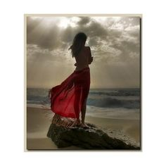 Woman in red near the sea in red.bmp ❤ liked on Polyvore featuring backgrounds
