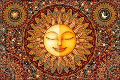 "Tapestry Wall Hanging Sun Moon $19.84 Celestial 28""X42"" by Artist Dan Morris titled ""Bhakti: Love and Devotion"" by DanMorrisArt on Etsy https://www.etsy.com/listing/270907661/tapestry-wall-hanging-sun-moon-celestial"