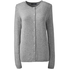 Lands' End Women's Petite Cashmere Cardigan Sweater ($169) ❤ liked on Polyvore featuring tops, cardigans, grey, grey cashmere cardigan, petite cashmere cardigan, layering cardigans, layered tops and petite cardigans