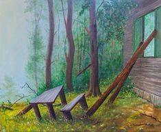 Hiding in the fog. 50×60 cm, oil, str. canvas Outdoor Furniture, Outdoor Decor, Oil, Park, Canvas, Home Decor, Tela, Decoration Home, Room Decor