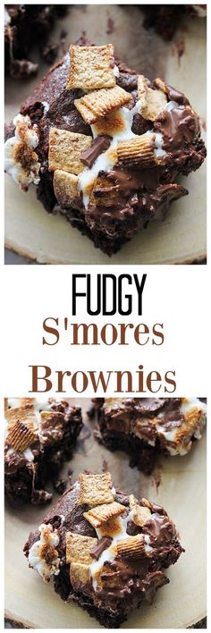 - Fudgy S'mores Brownies If you need a little something more than a regular brownie, try these Fudgy S'mores Browies! Chewy, fudgy brownie topped with graham cereal, marshmallows and chocolate will wow them all. No Bake Desserts, Just Desserts, Delicious Desserts, Dessert Recipes, Yummy Food, Dinner Recipes, Cocktail Recipes, Dinner Ideas, Breakfast Recipes