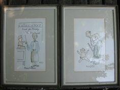 Pair vintage Grandmother Grandfather watercolors
