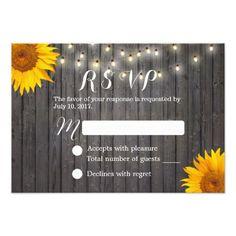 Sunflower & String Lights Barn Wood Wedding RSVP Card