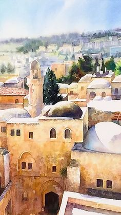 Paintings of Jerusalem by the painter, Beni Gassenbauer - Watercolors.