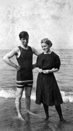 University of Chicago students, Frank Scudder (Snell Hall) and Winifred Conkling (Kelly Hall), enjoying a day at the beach, 1910, Chicago.