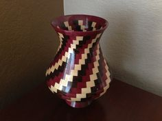 Earth Tone Spiral Themed Segmented Wood Vase with by KaveBowls