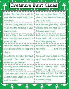 Bramble Box Clue Inspiration Sheet for Scavenger Hunt Scavenger Hunt Riddles, Easter Scavenger Hunt, Christmas Scavenger Hunt, Scavenger Hunt Birthday, Scavenger Hunt For Kids, Christmas Games, Anniversary Scavenger Hunts, Christmas Gift Hunt, Boyfriend Scavenger Hunt
