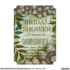 "Beautiful Botanical Bridal Shower Invitation 5"" X 7"" Invitation Card"