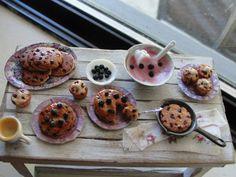 Dollhouse miniature blueberry pancakes and by Kimsminibakery