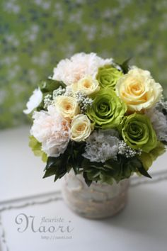 Preserved flower gift light green × yellow arrangement