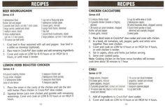 Crock Pot Beef Bourguignon, Lemon Herb Roasted Chicken, Chicken Cacciatore, & Chili