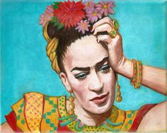 "FRIDA KAHLO In Deep Thought Original 8""x10"" Oil Painting on Canvas Mexican Folk Art flowers"