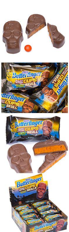Oh Frankenstein!  Butterfinger... Peanut Butter Cups... shaped like skulls!  http://www.candywarehouse.com/products/butterfinger-peanut-butter-cups-skulls-24-piece-box/?utm_source=Pinterest&utm_medium=Social&utm_campaign=Halloween