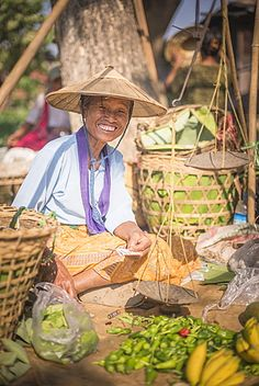 Portrait of a vendor at Ywama Village Market, Inle Lake, Shan State, Myanmar (Burma), Asia