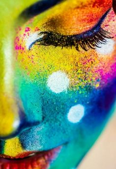 Color Horoscope and Color Meanings This image stands out to me due to all the colours and that you can see the different types of paints used World Of Color, Color Of Life, Art Visage, Color Meanings, Face Art, Rainbow Colors, Bright Colors, Feng Shui, Pop Art