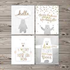 "Bear Nursery Wall Art, Instant Download, 8x10"" and 11x14"", Woodland Nursery Art…"