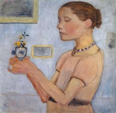 Girl with Flowers   -   Paula Modersohn-Becker  1906  German 1876-1907