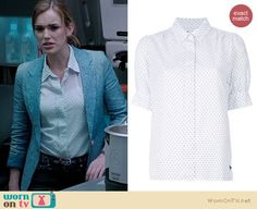 Jemma's white pin dot shirt and chambray blazer on Agents of SHIELD. Outfit Details: http://wornontv.net/19826/ #AgentsofSHIELD