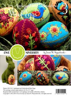 Appliqued and Embroidered Wool Eggs 3