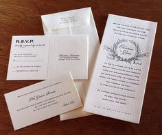 Monogram #letterpress wedding #invitation set, so classic, so timeless.