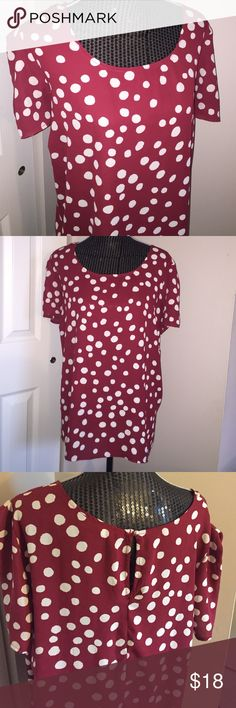 Plus Size Forever 21 Red White Polka-dot Blouse Super cute and flirty, pairs well with jeans or even leggings, short sleeves, runs slightly small, would fit a 2x as well. Worn only once! Forever 21 Tops Blouses