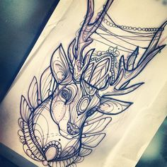 beautiful i would love art like this as my tattoos Tattoo Sketches, Tattoo Drawings, Tattoo Bunt, Diy Y Manualidades, Deer Tattoo, Piercing Tattoo, Future Tattoos, Skin Art, Body Mods