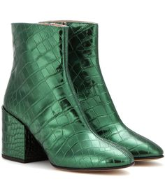 mytheresa.com - Embossed metallic leather ankle boots - Luxury Fashion for Women / Designer clothing, shoes, bags