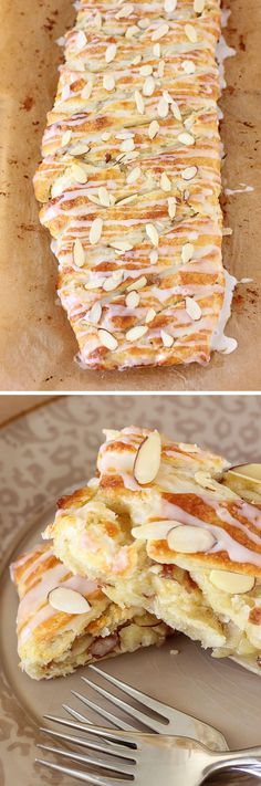 I LOVE ALMOND PASTRIES. Buttery Almond Pastry Braid: If you love almond -- almond pastries, almond croissants -- this simple recipe is perfect for you! Eat it for breakfast or dessert! Brunch Recipes, Sweet Recipes, Breakfast Recipes, Dessert Recipes, Breakfast Pastries, Danish Pastries, Puff Pastries, Italian Pastries, Homemade Breakfast