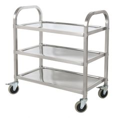 3 Tier Stainless Steel Serving Trolley Rolling Catering Storage Kitchen Cart  | eBay