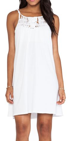 Michael Stars Macrame Yoke Dress in White