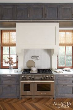 Gray Distressed Kitchen Cabinets, Contemporary, Kitchen, Atlanta Homes & Lifestyles