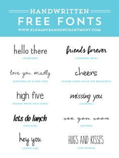 Free Handwritten Fonts @ Elegance&Enchantment  ~~ {10 free fonts w/ easy download links}