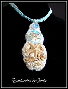 Little Starfish  A Bead Embroidered Necklace by beadazzledbysandy