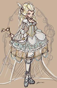 Rocopunk+Cinderella+Sketch+by+NoFlutter.deviantart.com+on+@deviantART