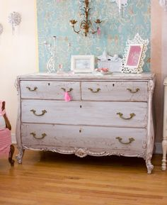 shabby chic furniture | Tumblr Like the wallpaper behind the chest:)