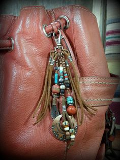 Purse Tassel, Leather Fringe Zipper Pull, Beaded Tassel Clip, Native American,  by StoneWearDesigns