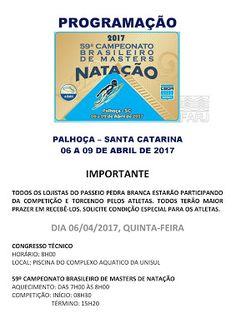 FRANCISSWIM - ESPORTES AQUÁTICOS: PROGRAMAÇÃO DO 59º CAMPEONATO BRASILEIRO MASTER DE...