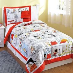 Boys Peanuts Comic Strip Red and White Comforter Sham Set - Twin From everydayhomeoutlet