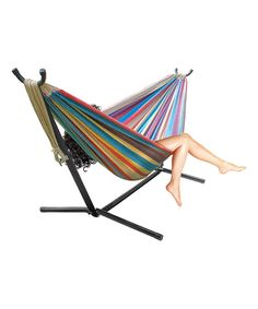 Take a look at this Red & Blue Stripe Two-Person Hammock & Stand today!