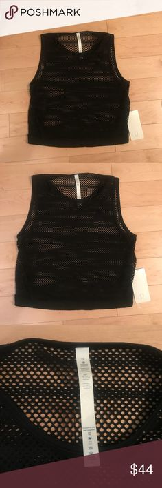 LULULEMON sweat your heart out black mesh top BNWT LULULEMON sweat your heart out black mesh top BNWT  Size 10. Please see picture for product overview for sizing inquiries . Loose fitting. lululemon athletica Tops Tank Tops