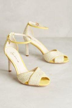 Guilhermina Lemon Heels Canvas Open Toe Sandals Anthropologie, Euro US 8 Fab Shoes, Cute Shoes, Me Too Shoes, Shoes Heels, Fashion Mode, Fashion Shoes, Fashion 2015, Peep Toe, Yellow Heels