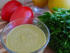 Spicy Tomato Parsley Green GlassLooking for delicious parsley green smoothies? This savory raw vegan tomato parsley smoothie tastes like gazpacho! YUM!