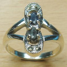 Double Stone Genuine Sapphire Oval Cut 925 Sterling Silver Ring