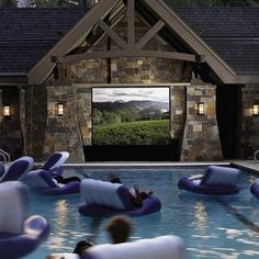 An outdoor pool movie theater! #movies #shop #deals #experience explore hgnjshoppingmall.com