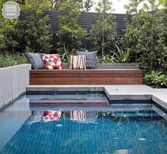 Swimming Pool Ideas: Home Beautiful magazine Australia Coping tiles the same as . Swimming Pool Ideas: Home Beautiful magazine Australia Coping tiles the same as the rest of pavers Small Backyard Pools, Backyard Pool Landscaping, Small Pools, Swimming Pools Backyard, Outdoor Pool, Patio, Outdoor Decor, Pool Fence, Landscaping Ideas