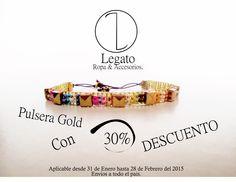 Pulsera Gold con el 30% de descuento !!!! Envíos a todo el país !!! #Pulsera #Gold #Artesania #Diseño #Accesorios.