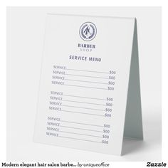 Modern elegant hair salon barber service menu table tent sign Unique Office Supplies, Office And School Supplies, Table Tents, Menu Template, Stationery Paper, Elegant Hairstyles, Christmas Photo Cards, Marketing Materials, Craft Party